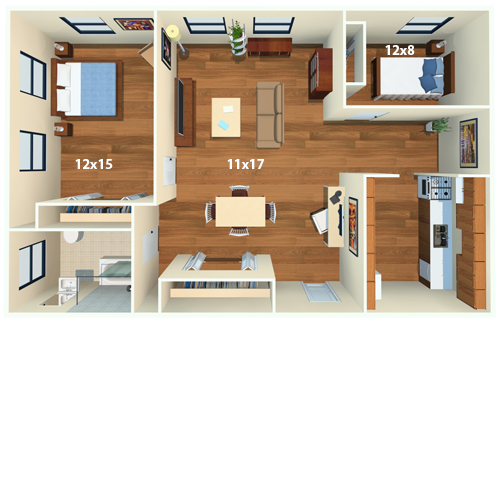 Chestnut Hall Apartments   2 Bed/1 Bath   The Masters Floor Plan